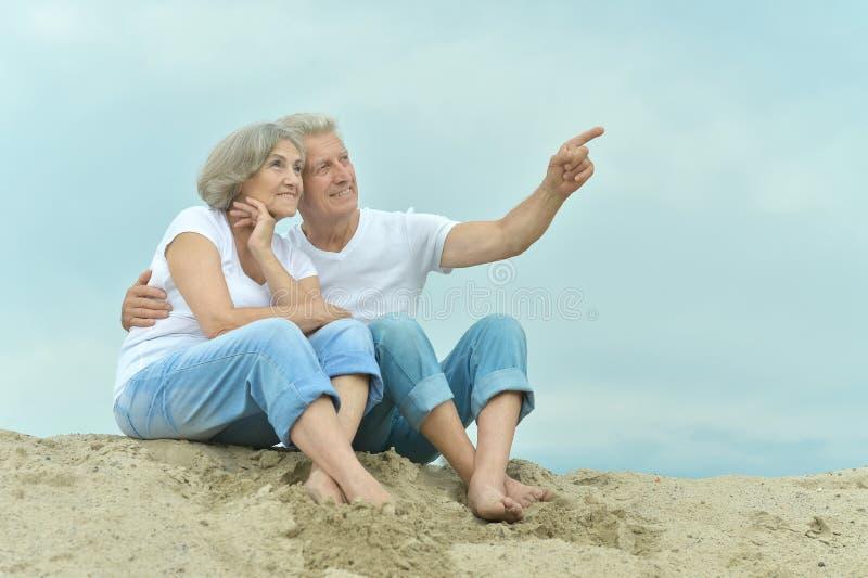 Unterhaltende ältere Paare gingen zum Strand stockfotografie