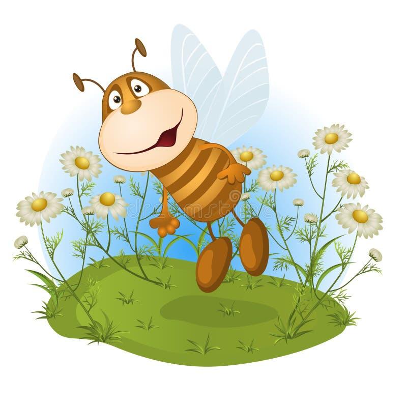 Unterhaltende Biene auf einer Blumenlichtung lizenzfreie abbildung