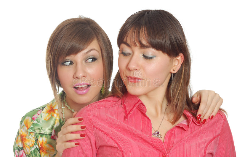 Unterhaltung mit zwei Spielkameraden stockbild