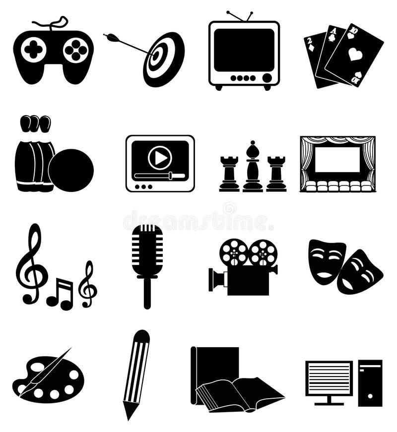 Unterhaltungsikonen eingestellt lizenzfreie abbildung