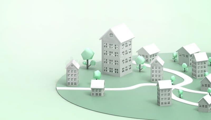 Unterkunft des Symbol-Grüns und der energiesparenden des Eigentumsgeschäft Konzeptmodernen kunst und -zeitgenossen auf grüne Past stock abbildung