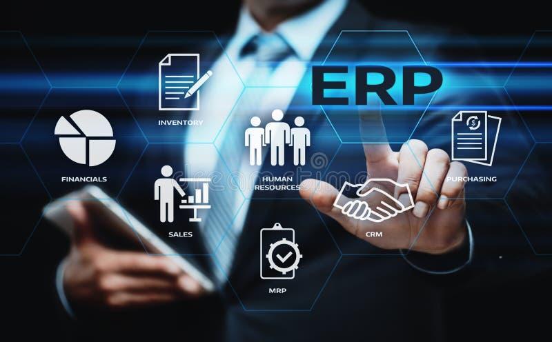 Unternehmens-Ressource, die ERP-Unternehmensgeschäftsleitungs-Geschäfts-Internet-Technologie-Konzept plant lizenzfreie stockfotos