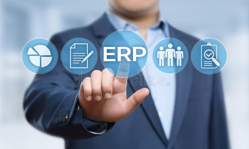 Unternehmens-Ressource, die ERP-Unternehmensgeschäftsleitungs-Geschäfts-Internet-Technologie-Konzept plant lizenzfreie stockfotografie