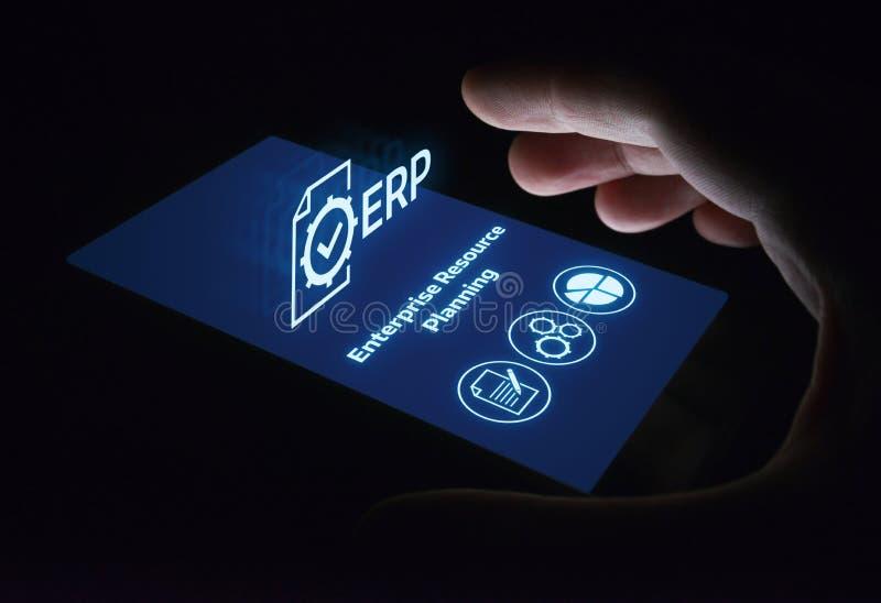 Unternehmens-Ressource, die ERP-Unternehmensgeschäftsleitungs-Geschäfts-Internet-Technologie-Konzept plant stockfotografie