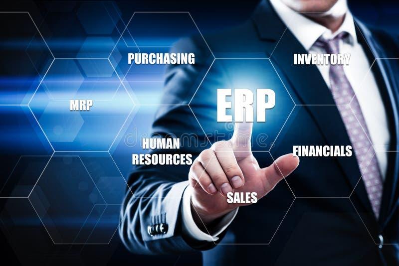 Unternehmens-Ressource, die ERP-Unternehmensgeschäftsleitungs-Geschäfts-Internet-Technologie-Konzept plant stockfotos