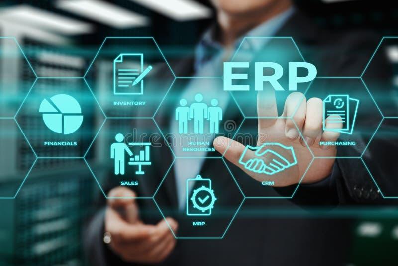 Unternehmens-Ressource, die ERP-Unternehmensgeschäftsleitungs-Geschäfts-Internet-Technologie-Konzept plant lizenzfreies stockfoto