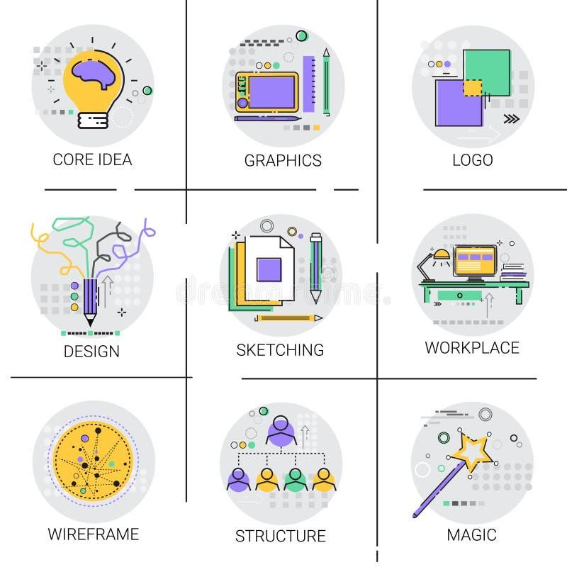 Unternehmens-Struktur-Ideen-gesetzte Management-Organisation Team Icon stock abbildung