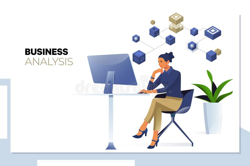 Unternehmensanalyse, Daten Analytics Geschäftsfrau, die Geschäftsanalytics- oder -intelligenzarmaturenbrett auf dem Computer betr lizenzfreie abbildung