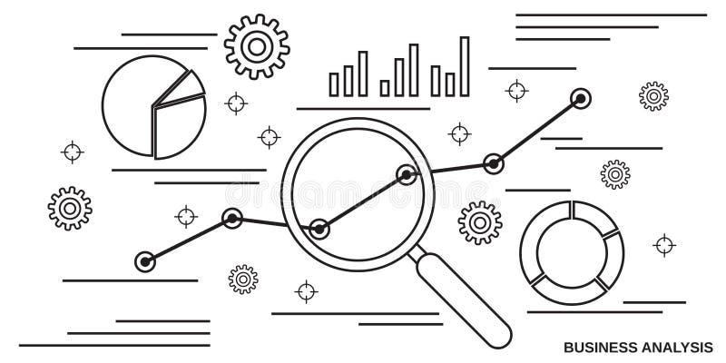 Unternehmensanalyse, Finanzstatistikvektorkonzept lizenzfreie abbildung