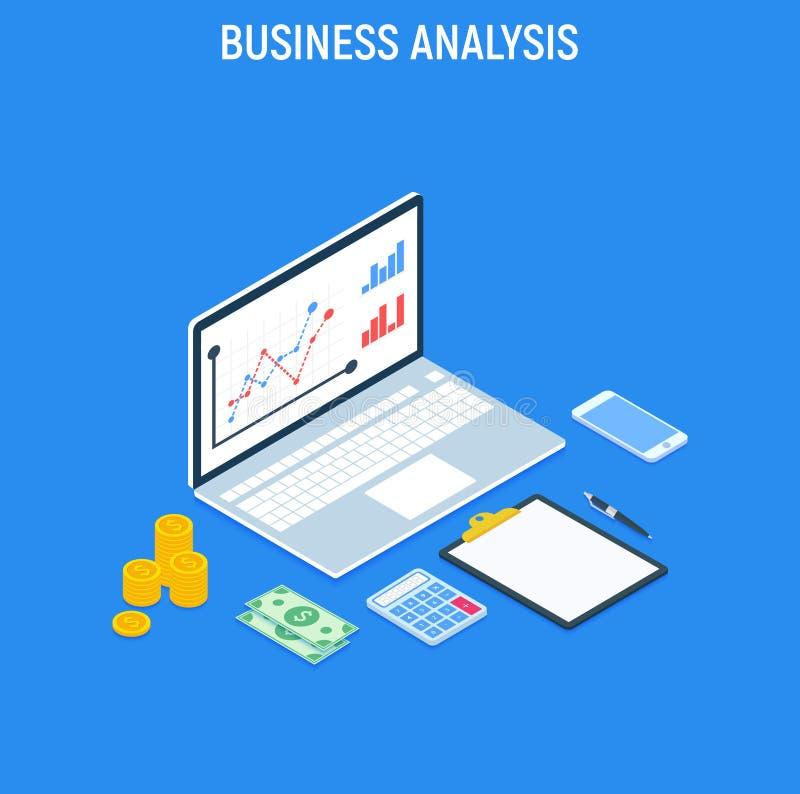Unternehmensanalyse-Konzeptstrategie Daten und Investition Geschäftskonzept getrennt auf Weiß Finanzbericht mit Laptop und infogr stock abbildung