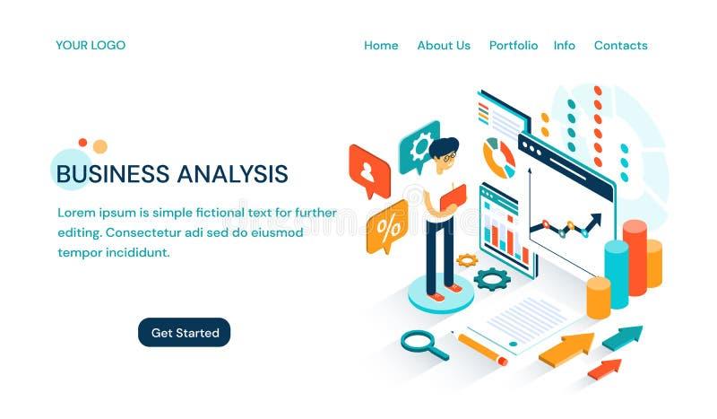 Unternehmensanalysewebsite-Schablonenentwurf mit Raum für Text und einem Karikaturgeschäftsmann, der eine Darstellung tut lizenzfreie abbildung