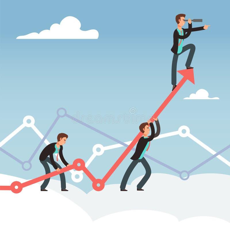 Unternehmensarbeiten und Teambemühung für Geschäftswachstum vector Konzept vektor abbildung