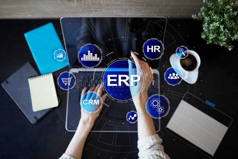 Unternehmensbetriebsmittel, die Geschäfts- und Technologiekonzept planen stockbild
