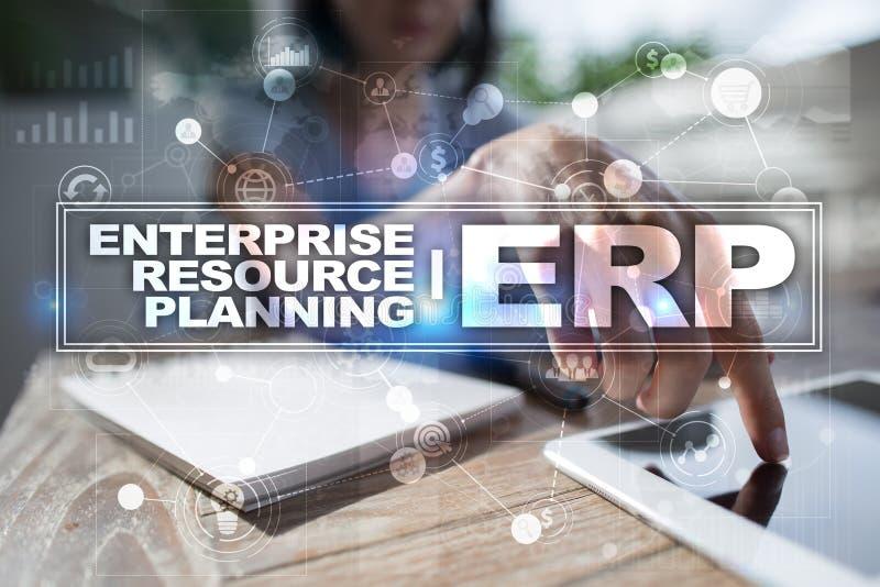 Unternehmensbetriebsmittel, die Geschäfts- und Technologiekonzept planen stockfoto