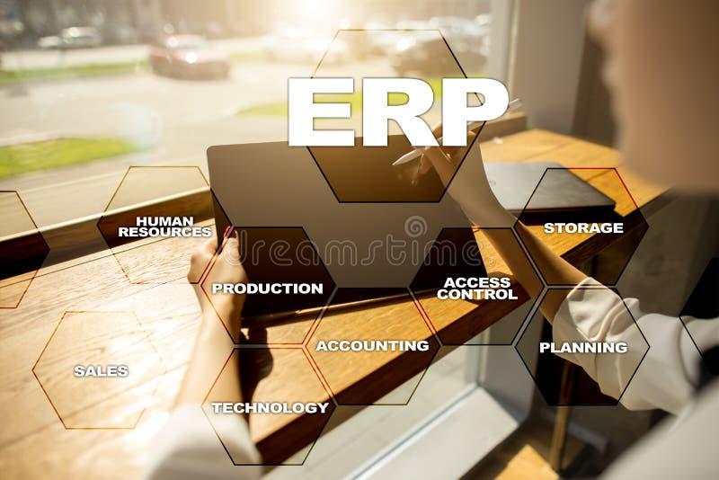 Unternehmensbetriebsmittel, die Geschäfts- und Technologiekonzept planen stockfotos