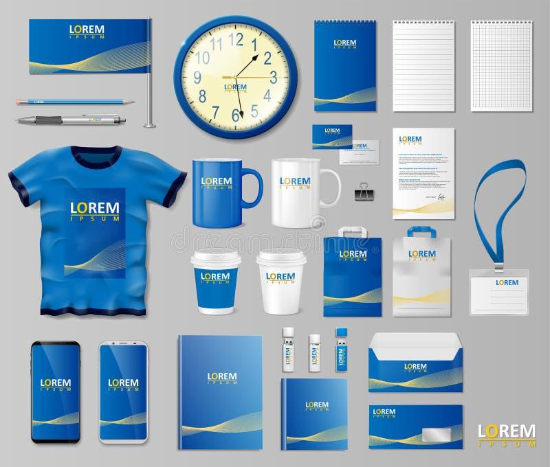 Unternehmensbrandingidentitäts-Schablonendesign Briefpapiermodell für Shop mit moderner blauer Struktur Frau mit Feder auf Weiß stock abbildung