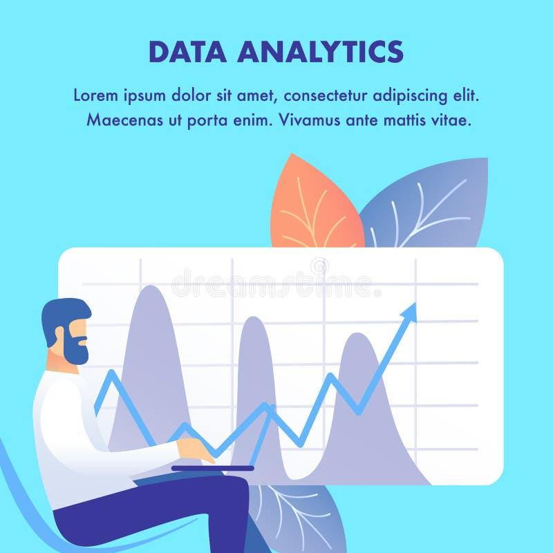 Unternehmensdaten Analytics-flache Netz-Fahnen-Schablone vektor abbildung