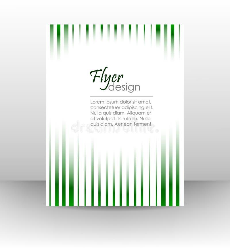 Unternehmensflieger auf einem weißen Hintergrund mit Grünen Grenzen stock abbildung