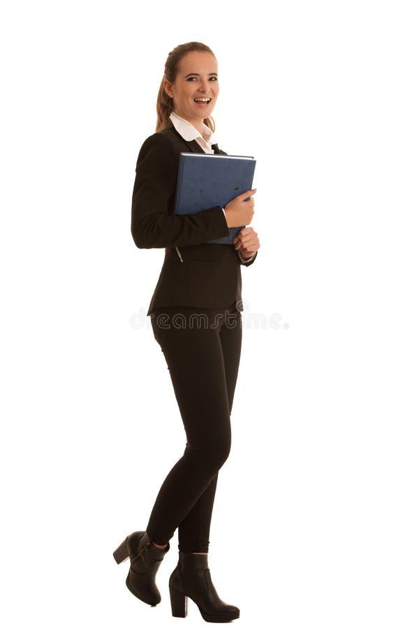 Unternehmensganzaufnahme einer preety Geschäftsfrau mit b stockbild