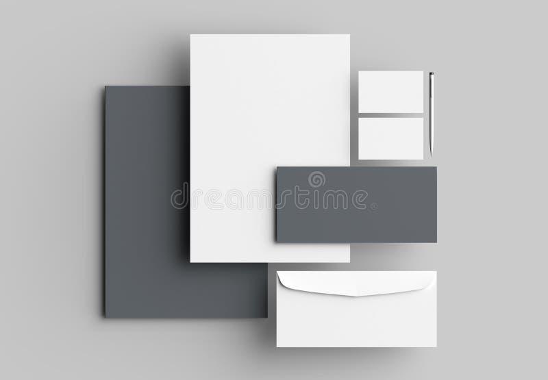 Unternehmensidentitä5sbriefpapierspott oben lokalisiert auf grauem backgroun stock abbildung