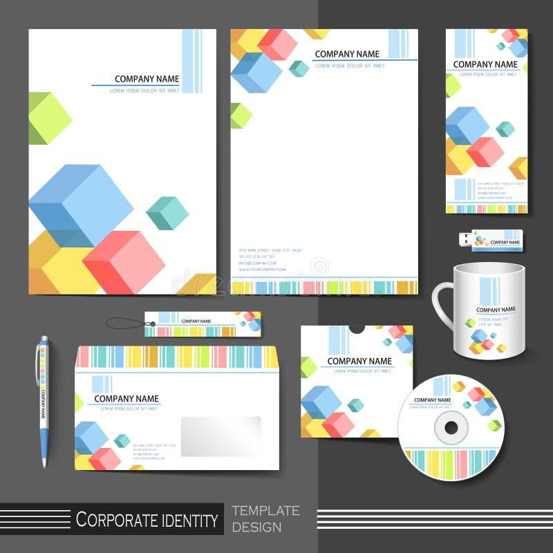 Unternehmensidentitä5sschablone mit Farbwürfelelementen vektor abbildung