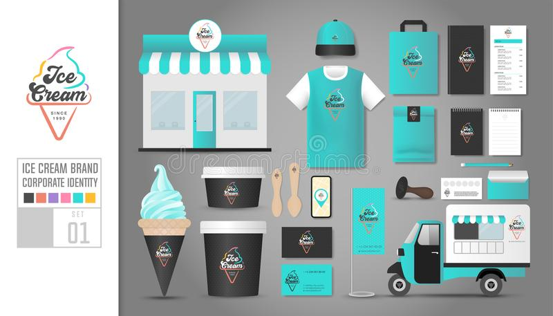 Unternehmensidentitä5sschablone stellte 1 ein Logokonzept für die Eiscreme SH stock abbildung