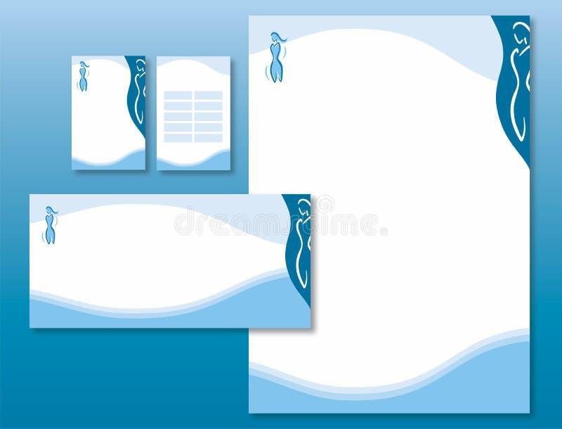 Unternehmensidentitä5 eingestellt - Frauen-Karosserien-Ikone im Blau. vektor abbildung
