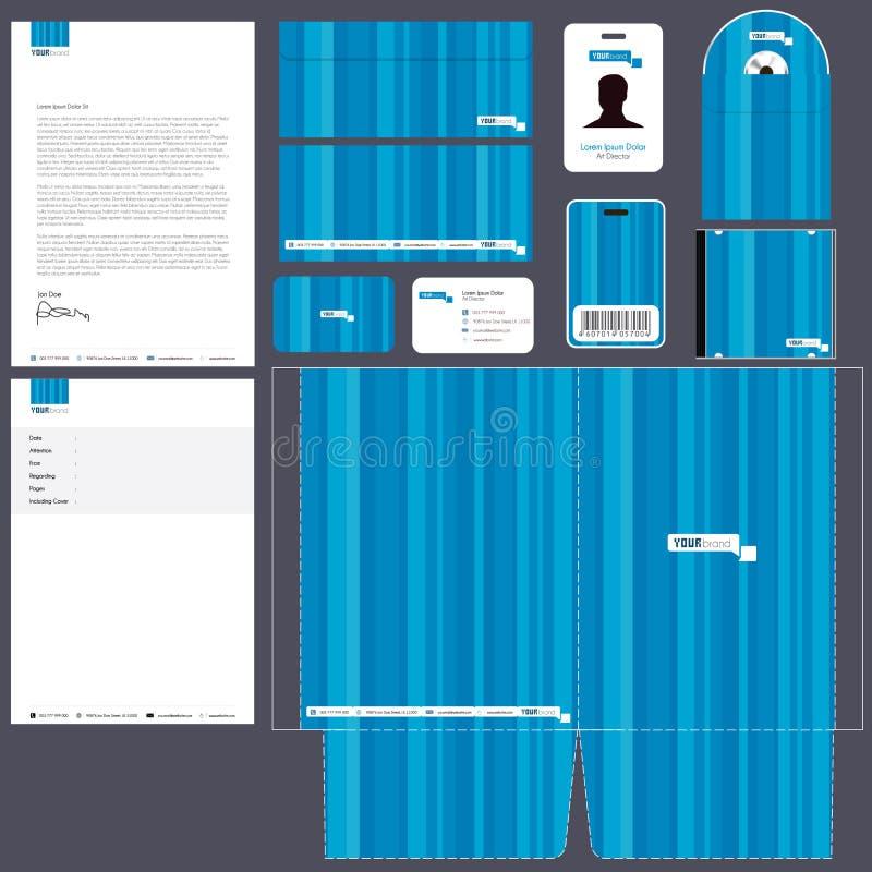 Unternehmensidentitä5 Satz   Blau lizenzfreie abbildung