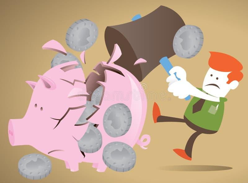 Unternehmenskerl entscheidet sich, seine piggy Querneigung zu brechen. lizenzfreie abbildung