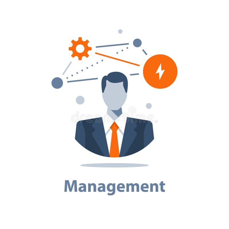 Unternehmenslösungskonzept, Geschäftsführung, erfolgreiche Strategie, Karrieregelegenheit, Projektleiter, Firmenceo lizenzfreie abbildung