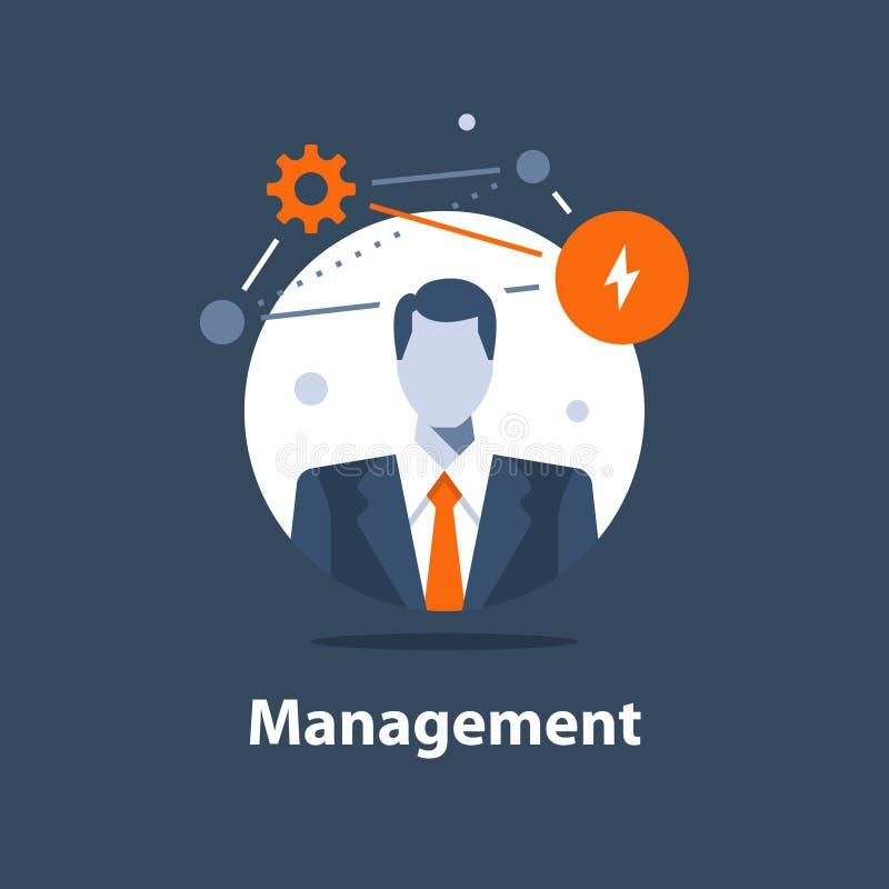 Unternehmenslösungskonzept, Geschäftsführung, erfolgreiche Strategie, Karrieregelegenheit, Projektleiter, Firmenceo stock abbildung