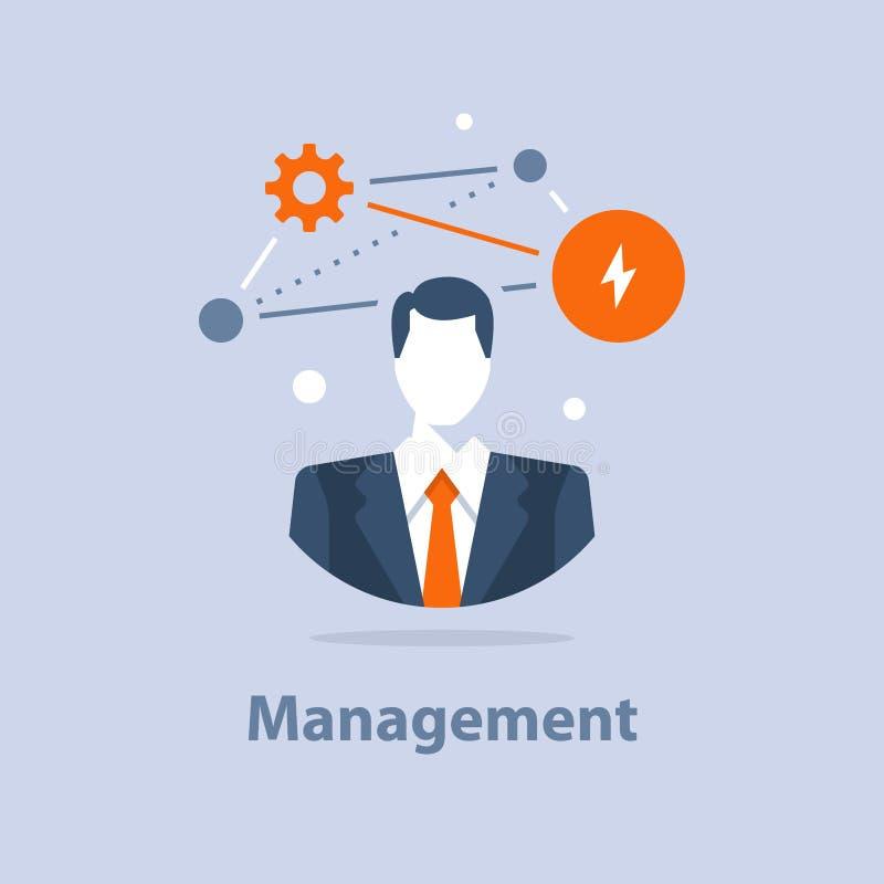 Unternehmenslösungskonzept, Geschäftsführung, erfolgreiche Strategie, Karrieregelegenheit, Projektleiter, Firmenceo vektor abbildung
