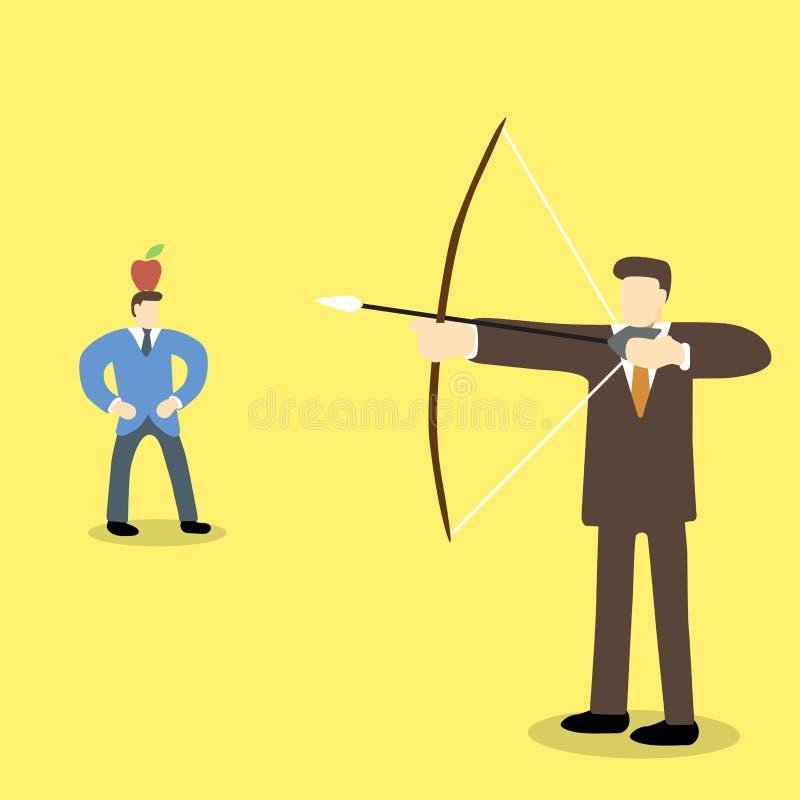 Unternehmensleiter, der den Pfeil und Bogen darauf abzielt, auf Apfel auf einem anderen Männerkopf zu schießen hält vektor abbildung