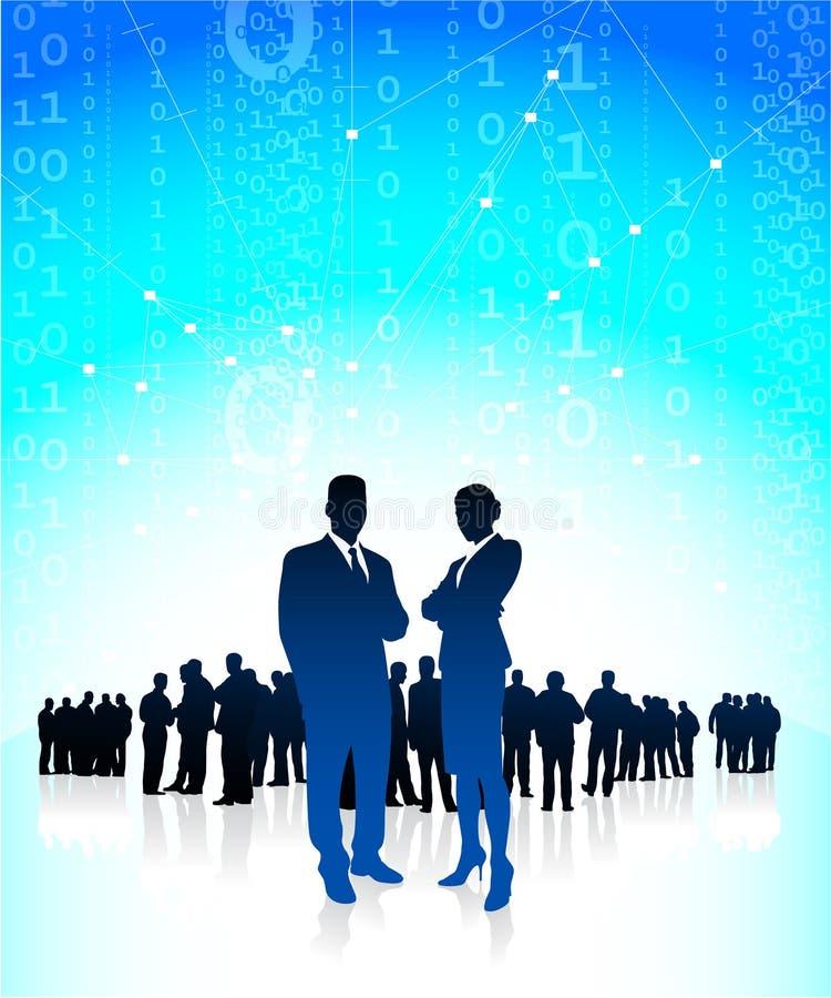 Unternehmensleiter mit globalem Finanzteam stock abbildung