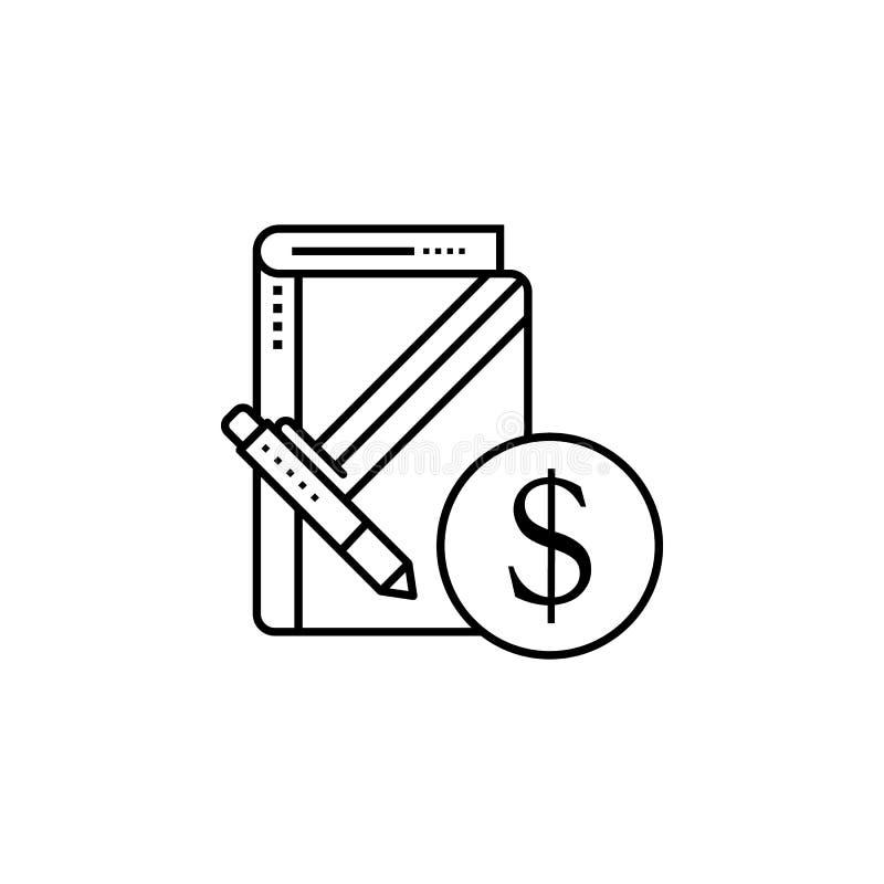 Unternehmensnotizbuchdollarikone Element der Geschäftsmotivationslinie Ikone vektor abbildung