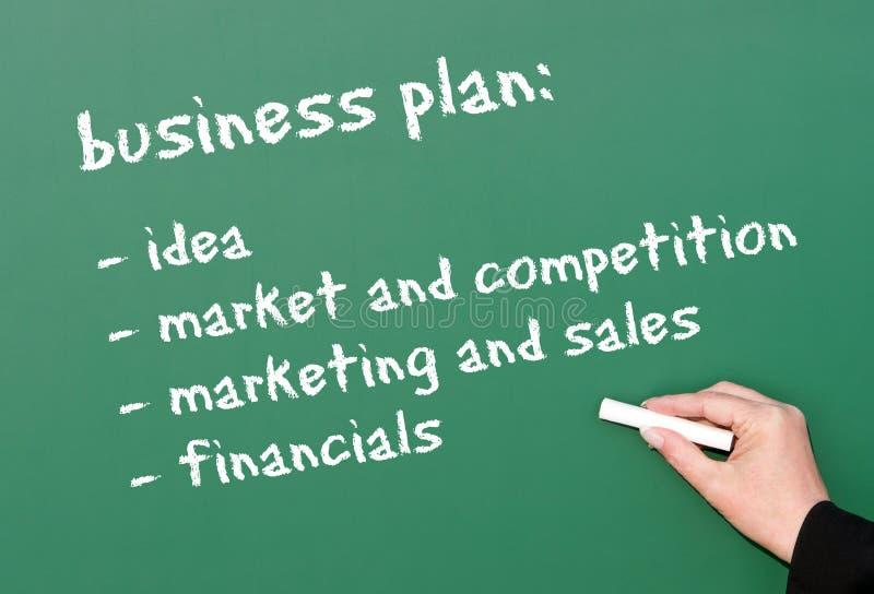 Unternehmensplan auf Tafel stockfotos