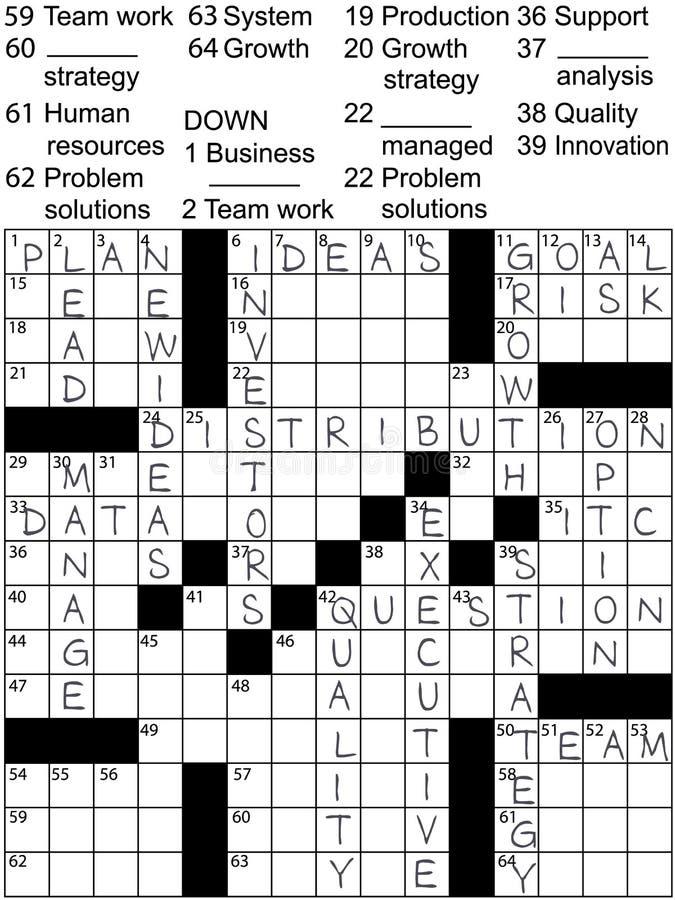 Unternehmensplan-Ideen-Lösungs-Kreuzworträtsel lizenzfreie abbildung