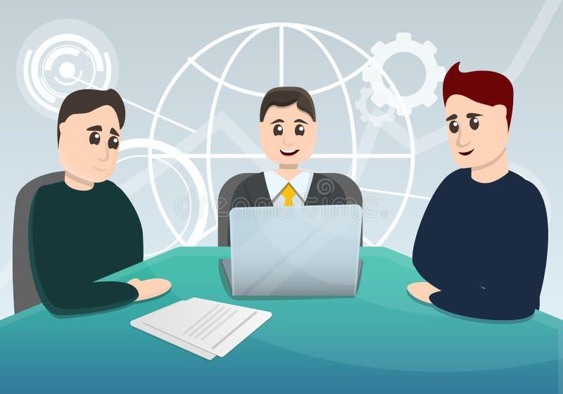 Unternehmensplanungs-Sitzungskonzepthintergrund, Karikaturart vektor abbildung
