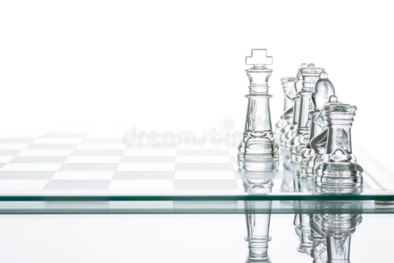 Unternehmensstrategie Geschäfts-Wahl, transparentes Glasschach grou stockbild
