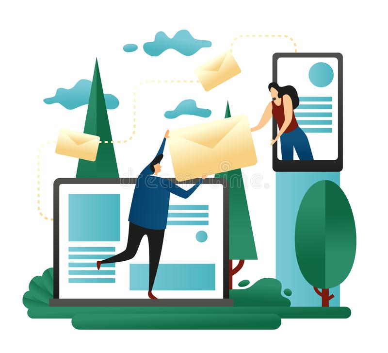 Unternehmensteamwork-E-Mail-teilen Büro-Leute schicken Smartphone Briefe vom Laptop miteinander Konzept des Entwurfes des Sendens lizenzfreie abbildung