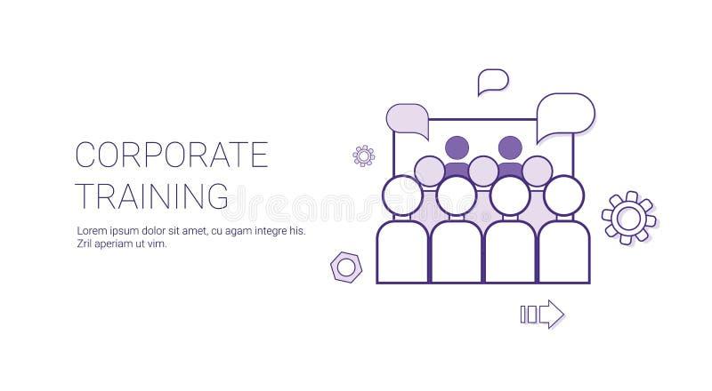 Unternehmenstrainings-Geschäfts-zeichnen Anleitungskonzept-Fahne mit Kopien-Raum dünn stock abbildung