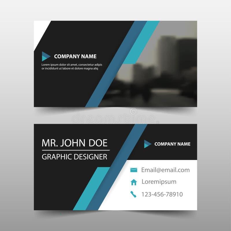 Unternehmensvisitenkarte des blauen Schwarzen, Namenkartenschablone, horizontale einfache saubere Plandesignschablone, Geschäftsf vektor abbildung