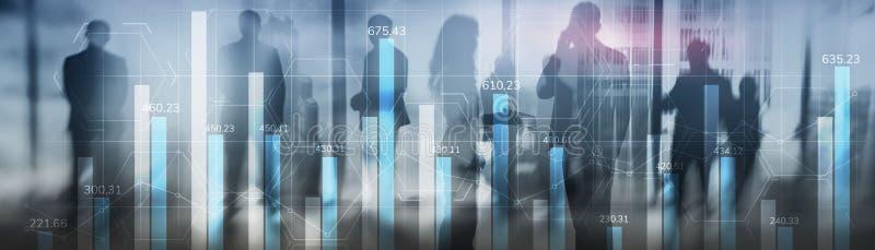Unternehmenswachstum, Fortschritt oder Erfolgskonzept Finanz-Balkendiagramm und wachsende Grafiken mit blauem Hintergrund lizenzfreies stockbild