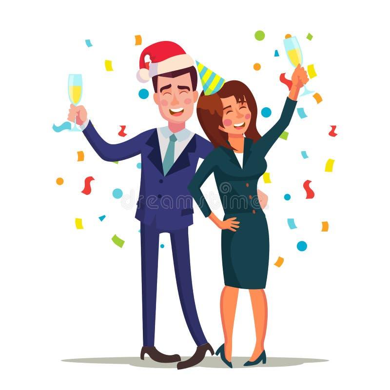 Unternehmensweihnachtsfest-Vektor Lächelnder getrunkener Mann und Frau Entspannung, Winter-Konzept feiernd Ende der Jahre stock abbildung