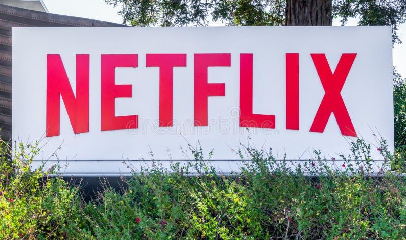 Unternehmenszentrale und Logo Netflix
