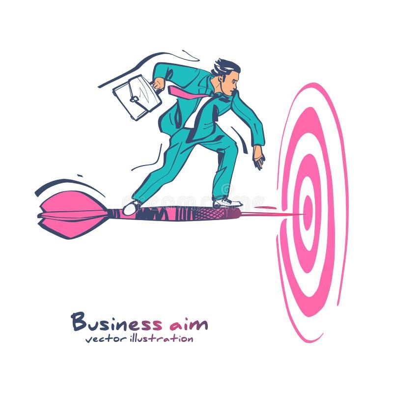 Unternehmensziel Geschäftsmann mit Aktenkoffer für Geschäftsziele vektor abbildung