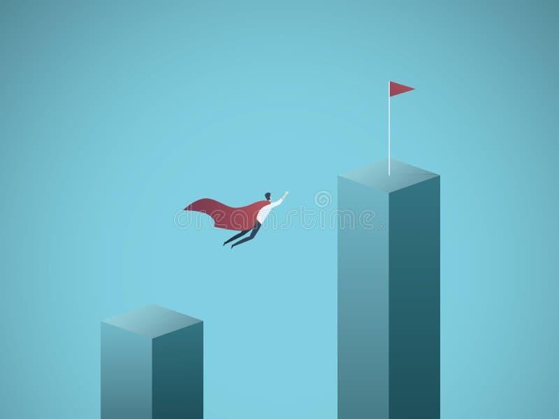 Unternehmensziel und Führungsvektorkonzept Geschäftsmannsuperheldfliegen in Richtung zu seinem Ziel, Auftrag Symbol von stock abbildung