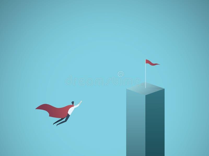 Unternehmensziel und Führungsvektorkonzept Geschäftsmannsuperheldfliegen in Richtung zu seinem Ziel, Auftrag Symbol von vektor abbildung