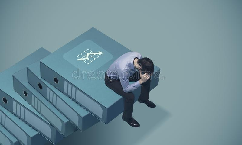 Unternehmenszusammenbruch und wirtschaftliche Rezession stockbilder