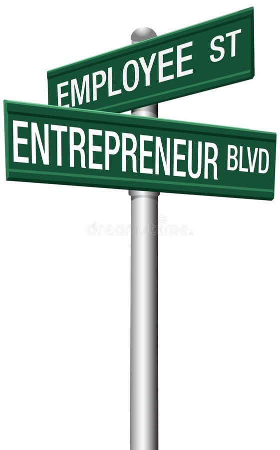 Unternehmer-Angestellt-Straßen-Wahlzeichen stock abbildung